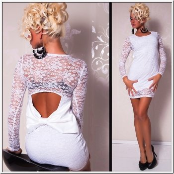 Сексуальное платье из стрейч гипюра с оригинальным вырезом и бантом на спине